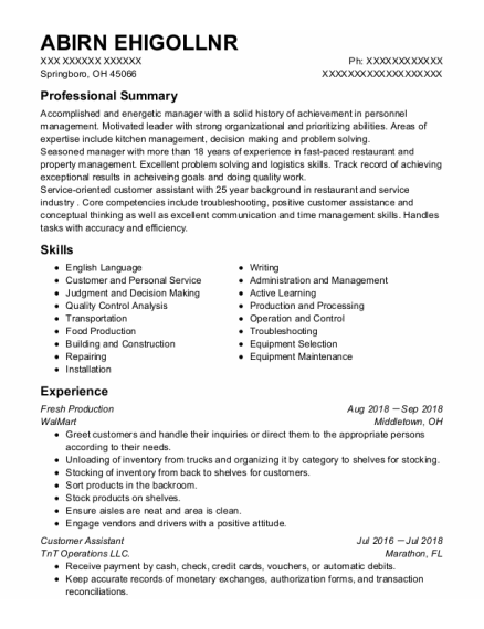 Customer Assistant resume format Ohio
