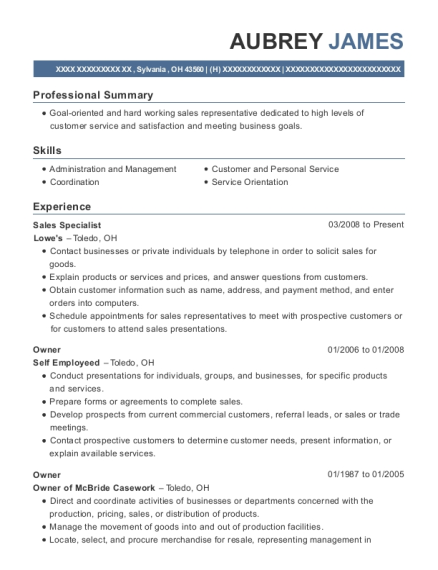 Sales Specialist resume sample Ohio