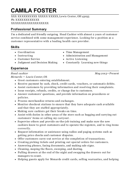 Head cashier resume sample Ohio