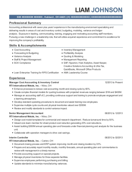 Manager Cost Accounting & Inventory Control resume example Ohio
