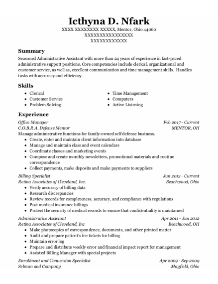 Office Manager resume template OHIO