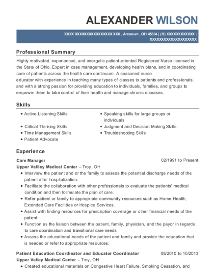 Care Manager resume format Ohio