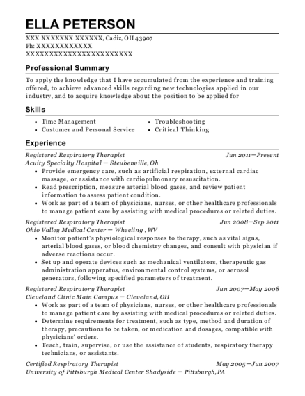 Registered Respiratory Therapist resume template Ohio