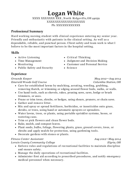 Grounds Keeper resume template Ohio