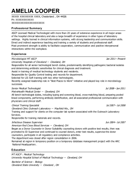 Microbiologist MT ASCP resume example Ohio