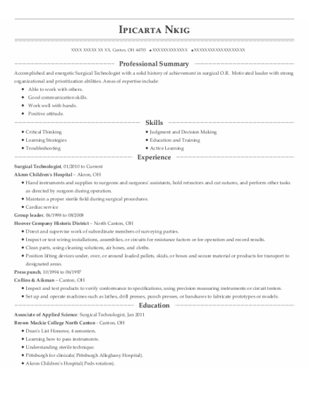 Surgical Technologist resume format Ohio