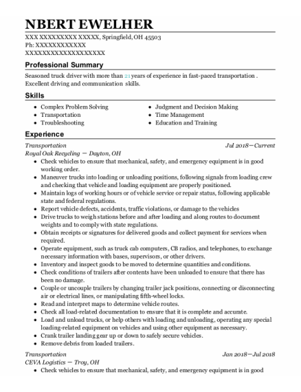 Transportation resume format Ohio