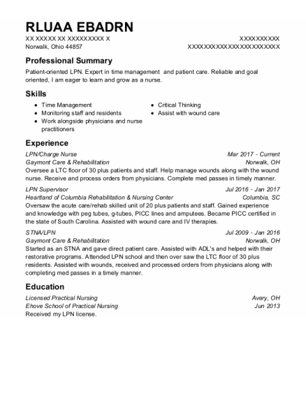 LPN resume example OHIO
