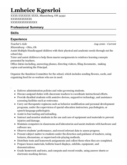Teachers Aide resume format Ohio