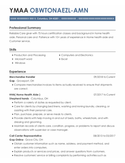Merchandise Handler resume example Ohio