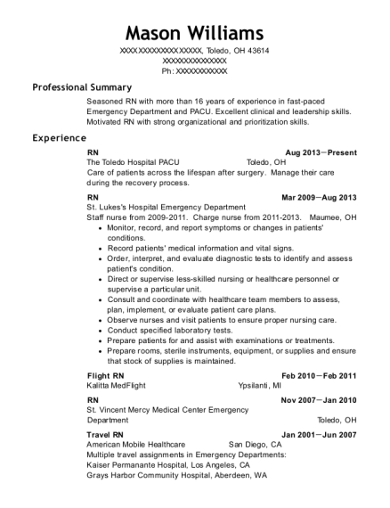 RN resume example Ohio