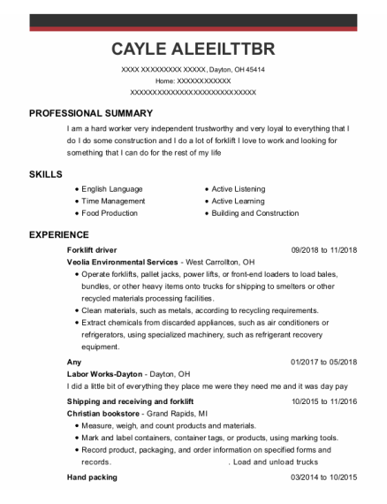 Forklift Driver resume template Ohio