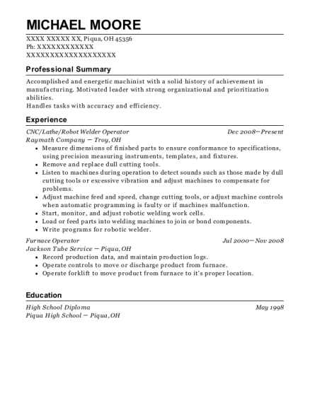 CNC resume example Ohio