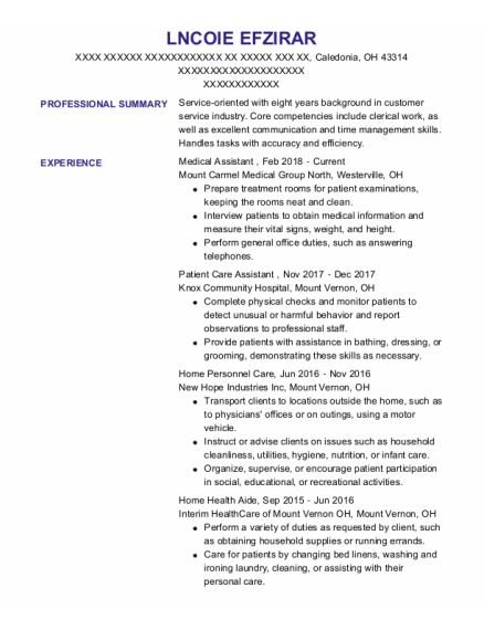 Medical Assistant resume template Ohio