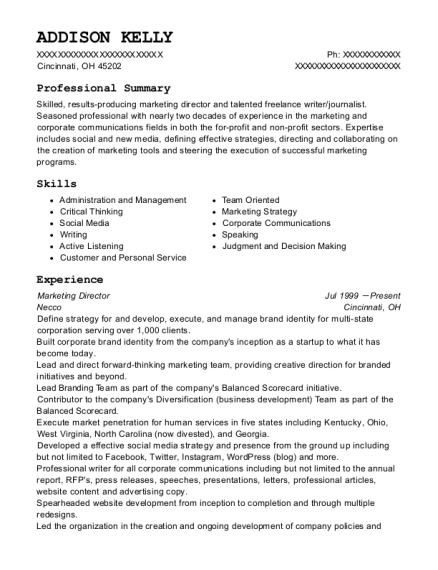 Marketing Director resume example Ohio