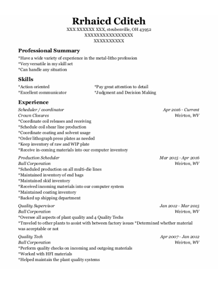 Scheduler resume template Ohio