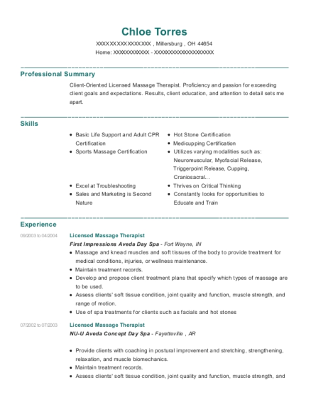 Licensed Massage Therapist resume sample Ohio
