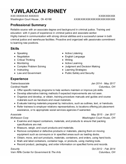 Trainer resume example Ohio
