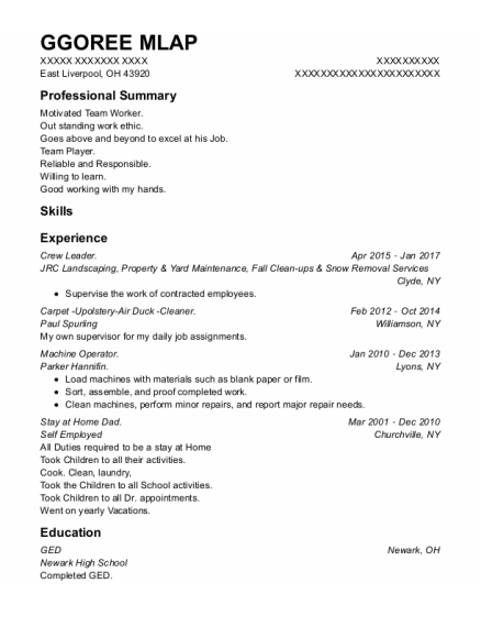 Crew Leader resume example Ohio