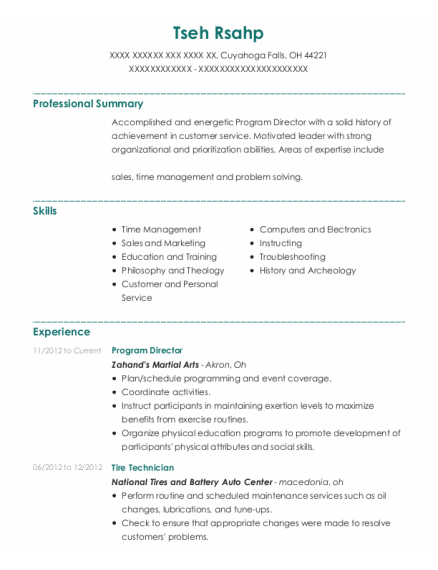 Program Director resume sample Ohio