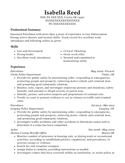Patrolman resume sample Oklahoma