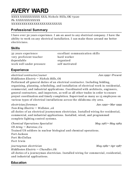 electrical contractor resume template Oklahoma