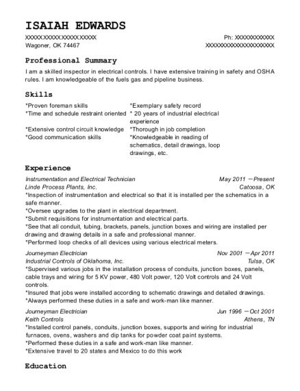Instrumentation and Electrical Technician resume example Oklahoma