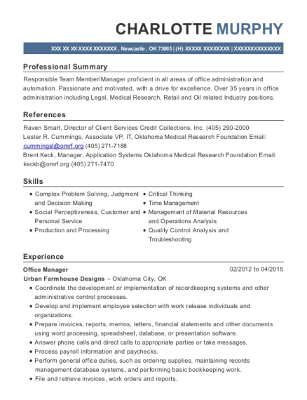 Office Manager resume format Oklahoma