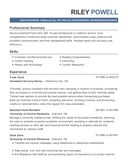 Food Clerk resume template Oklahoma