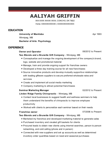 Owner and Operator resume format Oklahoma