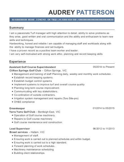 Assistant Golf Course Superintendent resume sample Oklahoma