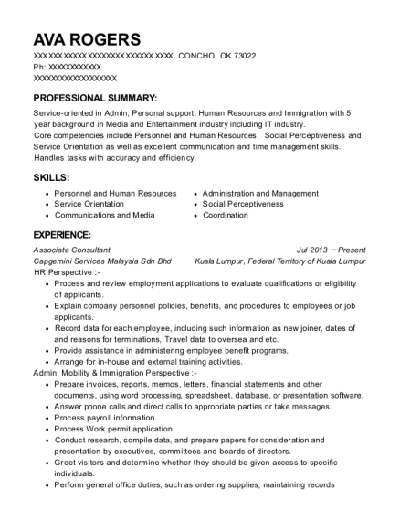 Associate Consultant resume template Oklahoma