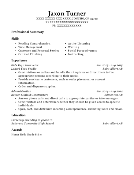 Kids Yoga Instructor resume template Oklahoma