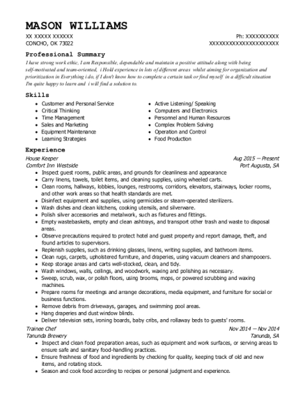 House Keeper resume format Oklahoma