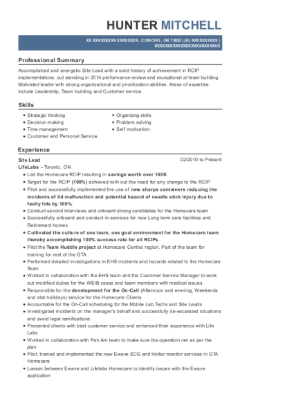 Site Lead resume sample Oklahoma