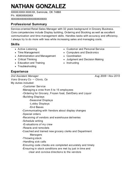 2nd Assistant Manager resume sample Oklahoma