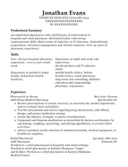 Pharmacist in Charge resume format Oklahoma