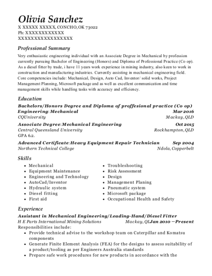 Assistant in Mechanical Engineering resume template Oklahoma
