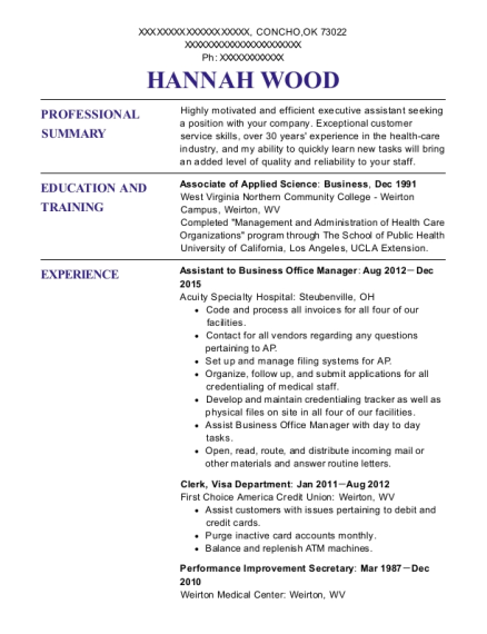 Assistant to Business Office Manager resume format Oklahoma