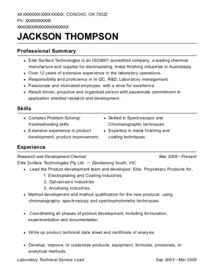 Research and Development Chemist resume template Oklahoma