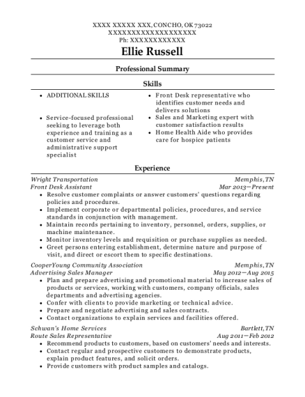 Front Desk Assistant resume format Oklahoma