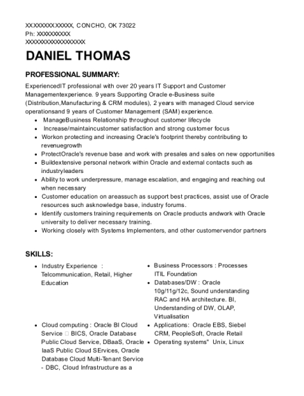 Support Account Manager resume template Oklahoma