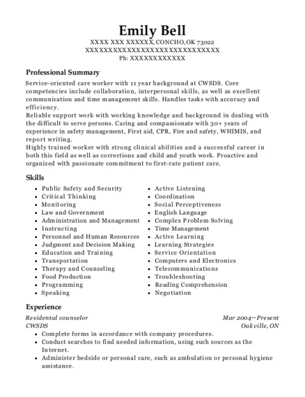 Residental counselor resume sample Oklahoma