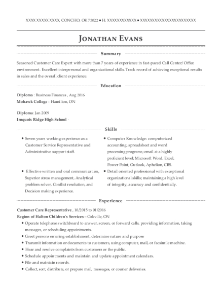 Customer Care Representative resume example Oklahoma