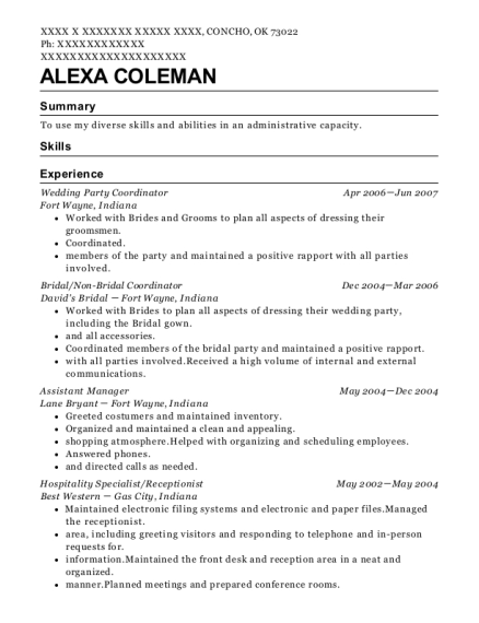 Wedding Party Coordinator resume format Oklahoma