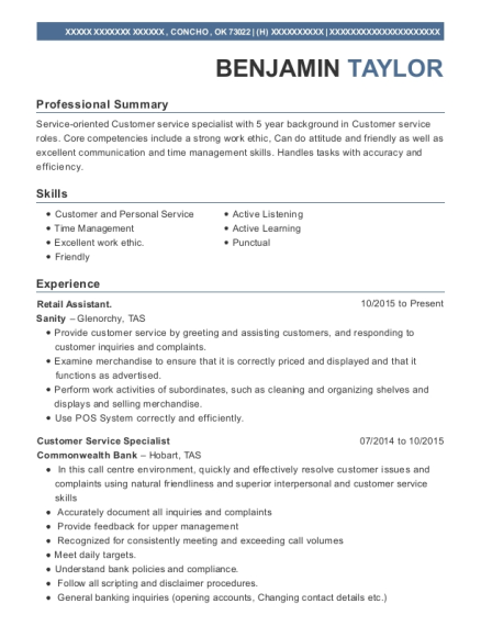 Retail Assistant resume format Oklahoma