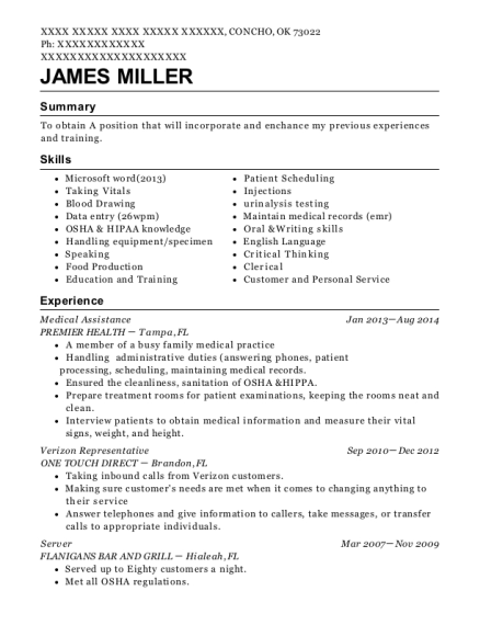 Medical Assistance resume sample Oklahoma