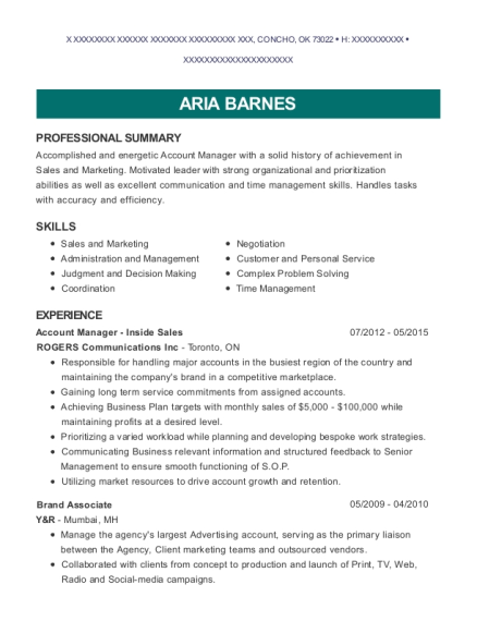 Account Manager Inside Sales resume sample Oklahoma