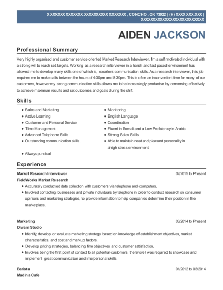 Market Research Interviewer resume template Oklahoma