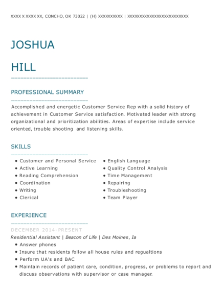Residential Assistant resume template Oklahoma